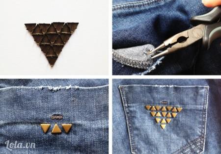 Design những đinh tán lên trên quần tùy theo bạn, theo như bài hướng dẫn này thì bạn có thể đặt các đinh tán lên trên túi theo hình tam giác