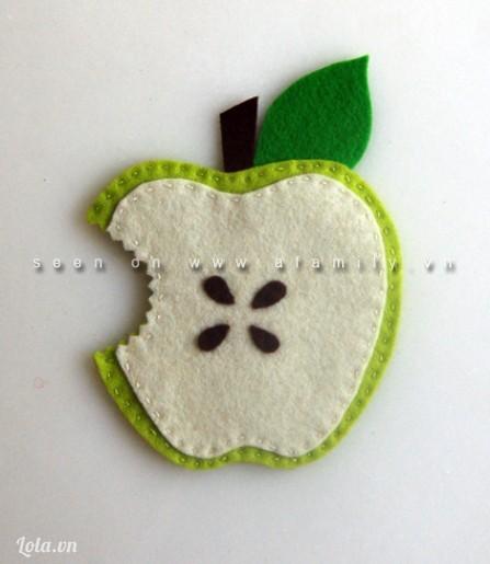 Tự làm lót ly cốc hình trái táo xinh xắn