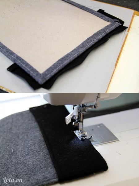 Ở phần bìa khác thì bạn may một lớp vải lên 1 góc như sau
