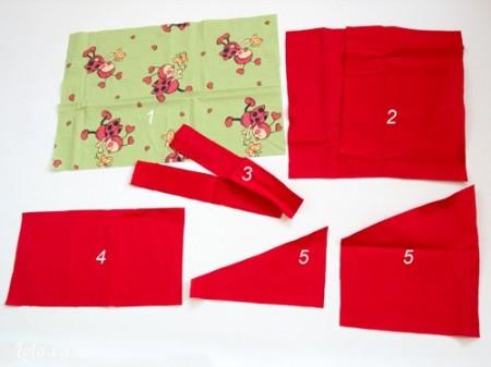 Cắt các miếng vải theo hướng dẫn, lấy kích thước chuẩn là lớn hơn bìa sách 1cm là được