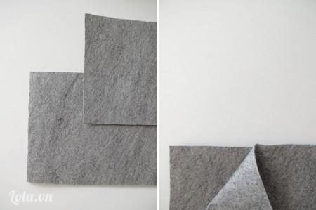 Cắt vải ra thành 2 kích thước một 18,5cm x 13cm, và hai 28cm x 13cm, đặt chồng tấm vải lớn lên tấm vải nhỏ rồi dùng kim ghim lại