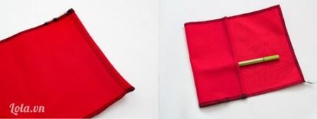 Gập miếng vải số 2 theo hình rồi may lại làm túi đựng bút bi