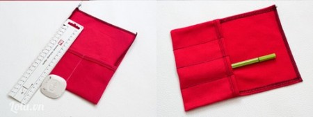 Miếng vải thứ 2 còn lại, đo bút chì đánh dấu lên miếng vải rồi may theo đường thẳng