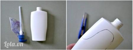 Rửa rạch chai nhựa, vẽ hình như bài hướng dẫn lên trên chai