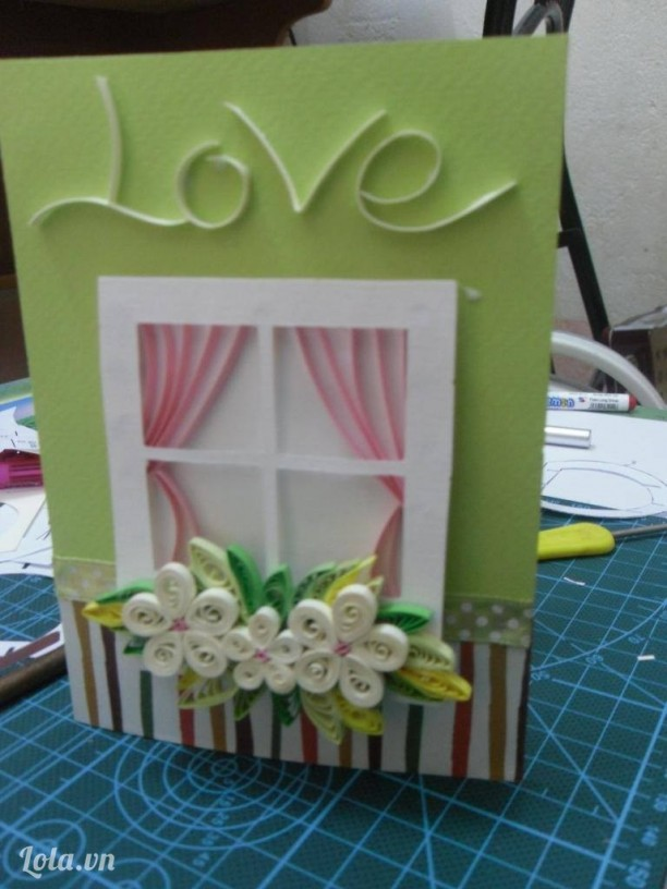 Window opens new happy life ( quilling and popup card)