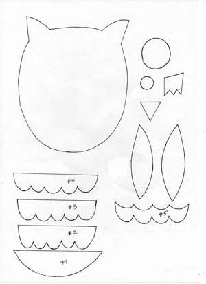 Cắt vải dạ theo mẫu in sẵn để được các chi tiết của em cú, bao gồm: 2 mảnh thân, 2 mắt (gồm cả tròng đen), 1 mỏ, cánh trái, cánh phải và các phần lông theo số thứ tự.
