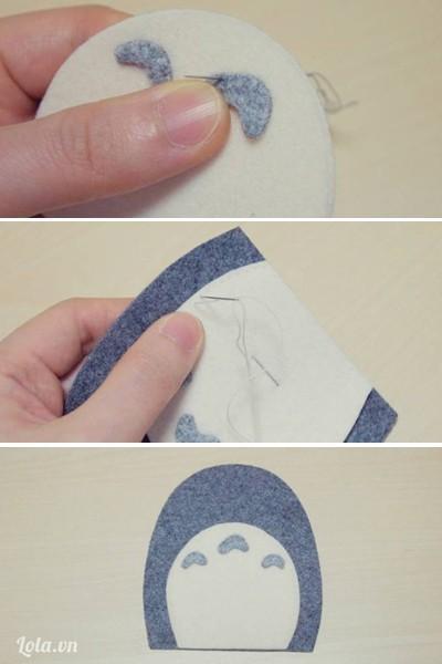 - Khâu 3 hình bán nguyệt lên trên tấm vải bụng (số 5), đặt tấm vải bụng khâu trên tấm vải thân (tấm số 1).