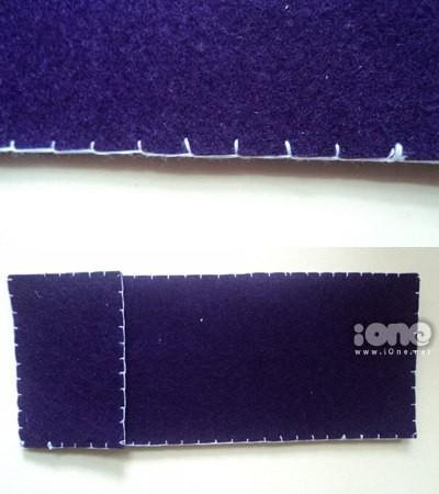 Để nắp hộp bút được chắc, nhớ lót thêm một lớp vải dạ nữa, sau đó đính nút bấm vào, nhớ canh chính xác vào đấy.
