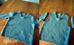 Cắt tay áo len ra như hướng dẫn