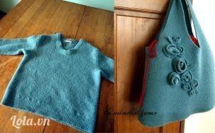 Làm túi xách bằng áo len