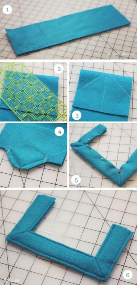 Cắt vải khác ra thành 5x12 cm, Gập đôi và cắt chéo sau đó làm theo hướng dẫn để có quay cầm