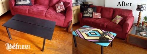 Decore chiếc bàn cũ cho phòng khách thêm mới lạ