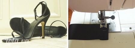 Đầu tiên bạn đo khoảng cách chiều ngang, rộng xung quanh phần trước của giày, cắt ra 2 miếng vải rồi đạp phần đầu tầm 1-2 cm