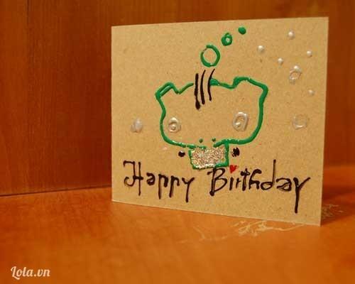 thiệp handmade ếch xanh chúc mừng sinh nhật