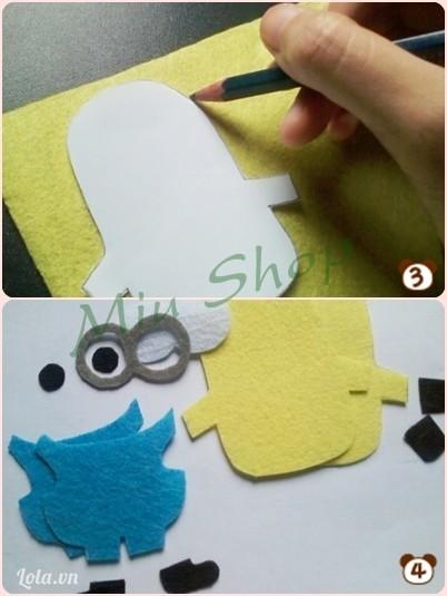 đặt miếng giấy vừa cắt lên vải nỉ, in ra vải và cắt theo màu sắc và số lượng hướng dẫn tại hình 4