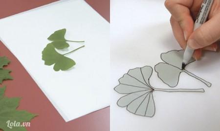 Đặt lá dưới giấy scan, tô theo đường viền và sống lá.