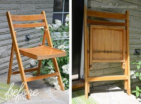 Trước tiên bạn sẽ tìm một chiếc ghế bằng gỗ có tựa lưng như trong hình, gập ghế lại
