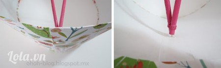 Ghi những kẹp giấy vào những đầu của cây gậy. Sau đó đặt mấy cây gậy này vào bên trong, ghim vào giấy