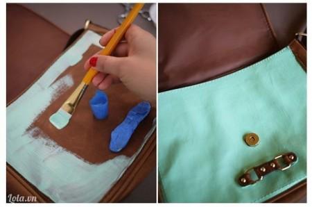 Sơn lên trên túi như thế này, sau khi sơn xong rồi thì tháo bỏ giấy đã bọc xung quanh lúc nảy ra