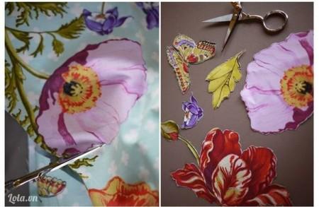 Cắt những họa tiết hoa xung quanh của vải ra