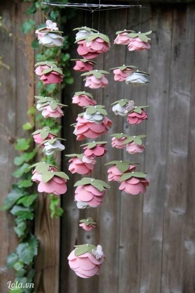 Felt (LG Flower) and Pearls Rose Mobile