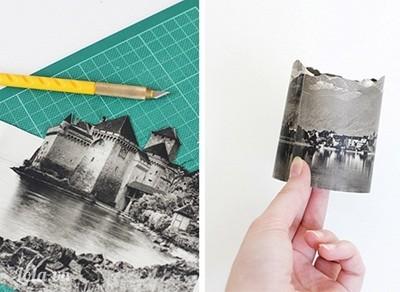 Bước 2:   - Dùng dao rọc giấy khoét các ô cửa sổ nhỏ trên ảnh để ánh sáng lọt ra ngoài.