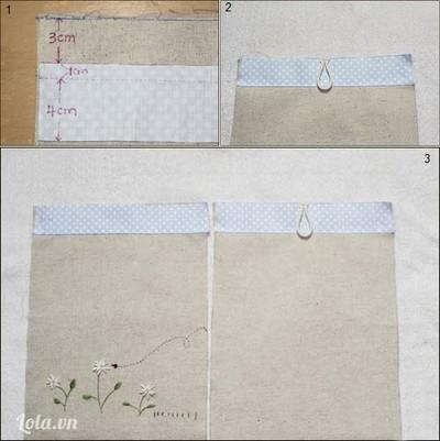 Trước tiên bạn may nẹp túi vào miệng vỏ túi. Nẹp vải rộng 4cm, sau khi may ráp và lật ngược lên bạn có nẹp rộng 3cm. Khâu luôn đoạn chun uốn cong vào giữa miệng túi làm khuy chun trên một miếng vỏ túi, miếng vỏ túi còn lại thêu hoặc khâu đính phụ liệu trang trí tuỳ ý ở nửa dưới.