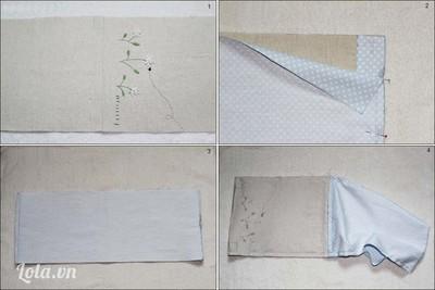 May ráp hai cạnh đáy của 2 miếng vỏ túi rồi trải vải dài ra, úp mặt phải vỏ túi và lót túi lại với nhau rồi may ráp vòng quanh, chừa 5cm - 7cm không may để còn lộn phải vải.
