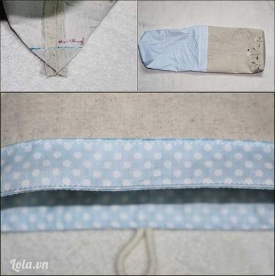 Bóp các góc đáy túi rồi may đường vuông góc với đường vải may ráp để tạo đáy nở. Lộn phải vải rồi lồng lót túi vào trong vỏ túi, may chặn đường chỉ nổi sát mép túi (đường may đi qua cả lớp vải vỏ túi và lót túi).