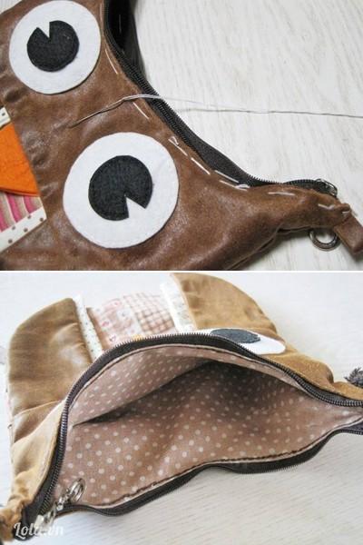 - Lồng hai mặt trái túi và vải lót túi áp vào nhau, ở giữa đặt dây khóa kéo, khâu đường chỉ lược giữ và khâu đường chần mép vải cố định.