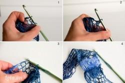 Móc tới đâu bạn sẽ dỡ len rộng bản lưới ra tới đó. Trước tiên bạn đâm kim vào một ô lưới sát 1 mép bản len. Sau đó bận đâm kim qua ô lưới cách vị trí đâm kim ban đầu 1 ô. Như vậy trên kim của bạn đã có hai vòng len. Bạn kéo kim để luồn vòng len sau qua vòng len trước nó. Như vậy trên kim chỉ còn một vòng len (ta thường gọi là 1 mũi). Bạn đã thấy phần lưới len bên dưới nhún lại thành một bèo nhỏ. Nếu muốn bèo nhún to thì bạn cách ra nhiều ô lưới mới móc chứ không chỉ 1 ô.