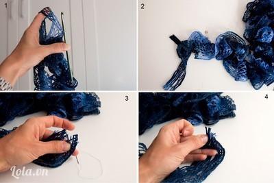 Khi móc tới mũi cuối cùng của khăn, bạn cố tình móc thêm 1 mũi nữa trên dải len vừa mới chập thêm vào. Dùng kim băng xỏ giữ mũi len đó. Cắt bỏ len thừa. Dùng kim chỉ khâu thắt cặt đầu len lại, cắt gọn lại len một lần nữa.