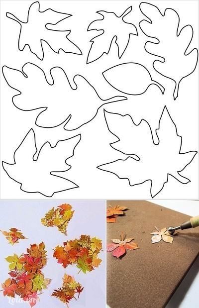 Cắt bìa màu loang thành hình lá thu, bạn có thể dùng các mẫu lá cho sẵn ở trên, lưu ý in mẫu cỡ nhỏ sao cho phù hợp với khuôn khổ của tấm thiệp bạn định làm. Đặt các lá lên tấm mốp mỏng, dùng dùi đầu trơn để miết theo hình gân lá, dùng dùi đầu tròn nhấn giữa lá cho cong lõm tự nhiên. Bạn có thể dùng màu trắng vẽ thêm các sống gân lá, nếu thích.