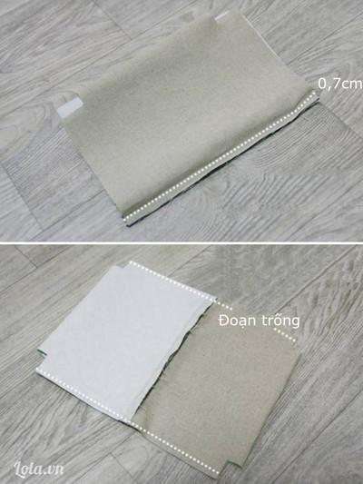 Tiếp theo, gấp mép biên vải lót túi trùng với biên vải khóa kéo, khâu đường thẳng cách mép vải 0,7cm. Lật miếng vải túi về một bên và miếng vải lót túi về một bên, mặt phải vải úp vào nhau. May 2 đường thẳng dọc theo hai bên sườn túi cách mép vải 1cm, chừa trống đoạn 4cm để lộn mặt phải túi ra ngoài.