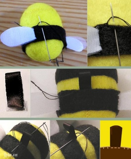 Lồng vào thân và khâu lại. Khâu thêm dải ruy băng nhỏ làm móc treo
