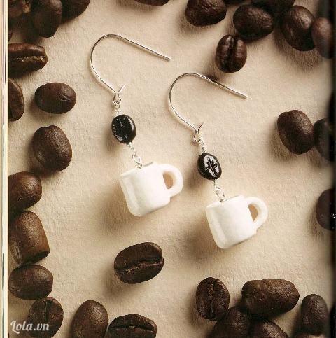 Đất sét: làm hoa tai với tách cafe tý hon
