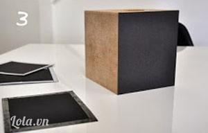 Bước 3:  Dán ốp các miếng lên xung quanh hộp nè.