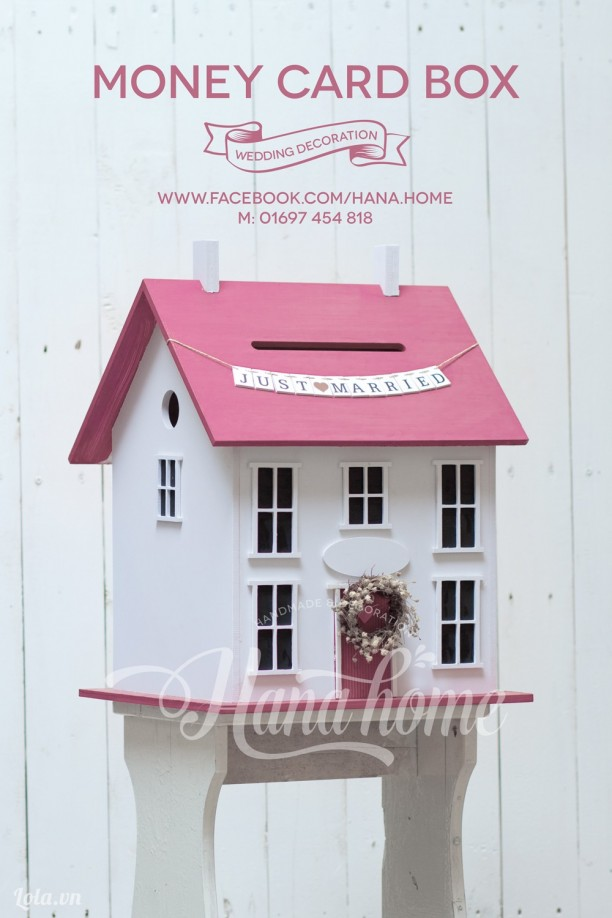 money card box - thùng song hỷ ( pink)