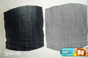 - Giờ thì cắt 2 tấm vải như hình bên để làm nơ xinh cho túi rồi dán viền mép mặt trái và lộn phải lại nè.