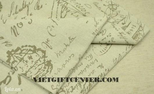 Vải canvas in chữ và họa tiết vintage
