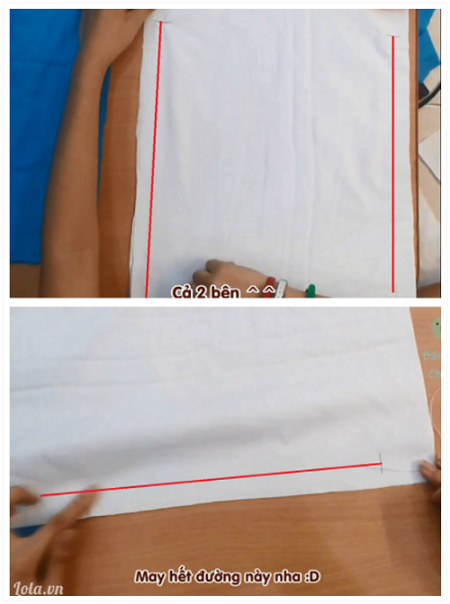May lớp lót trong làm ba lô dây rút Theo đường đánh dấu chữ U trên vải lót, dùng kim khâu lại. Để may balo rút chắc chắn hơn, bạn nên dùng mũi đột mau để khâu.