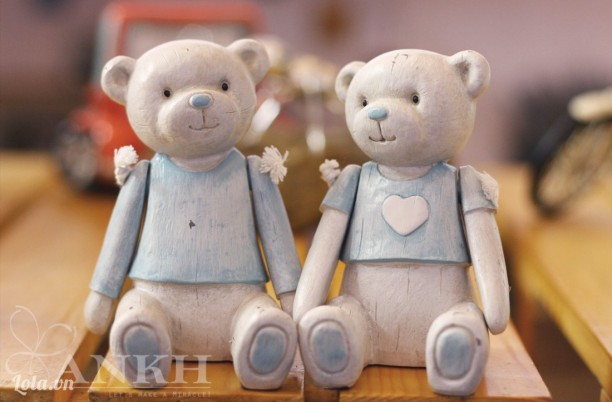 Cặp tượng gấu decor cao cấp - handmade