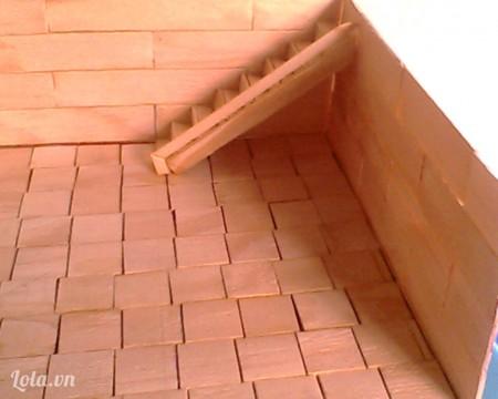 Quán này có 1 lầu nên mình xây thêm cầu thang