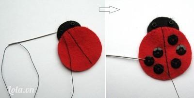 Bọ rùa - hoàn thiện và kết kim sa vào, nếu thích bạn có thể thay bằng vải nỉ màu đen.