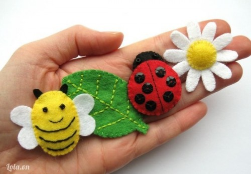 Làm ong, bọ rùa, lá và hoa cúc trắng từ vải nỉ