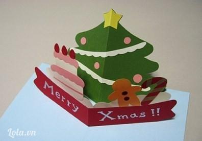 hướng dẫn làm thiệp hình cây thông Noel