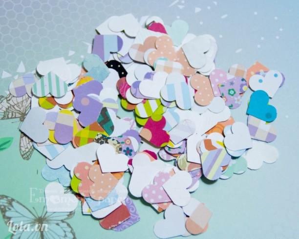 Trái tim nhí bằng giấy trang trí scrapbook, thiệp handmade