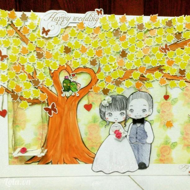 tranh ký tên đám cưới handmade