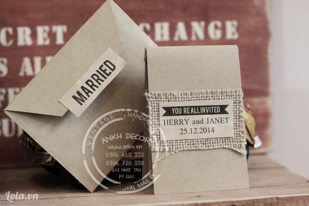 Thiệp cưới handmade độc đáo phong cách vintage