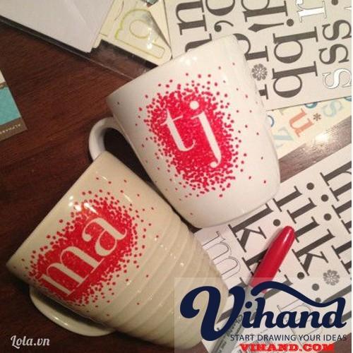 Hướng dẫn vẽ ly sứ bằng bút lông dầu Sharpie - ( Vihand.com )